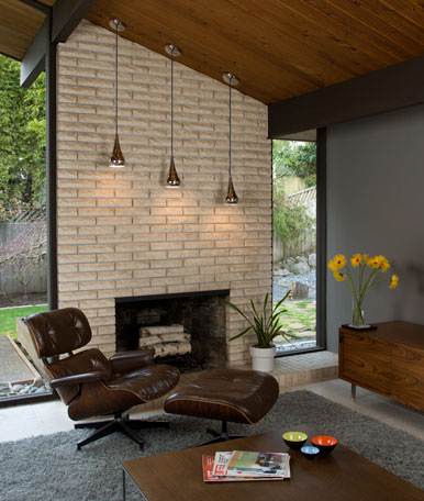 Atomic age twenty first century retro - How to make a brick fireplace look modern ...